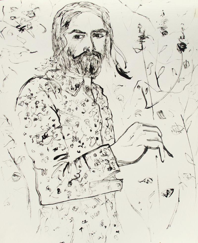 Autoportrait à ste suzanne (dessin preparatoire)